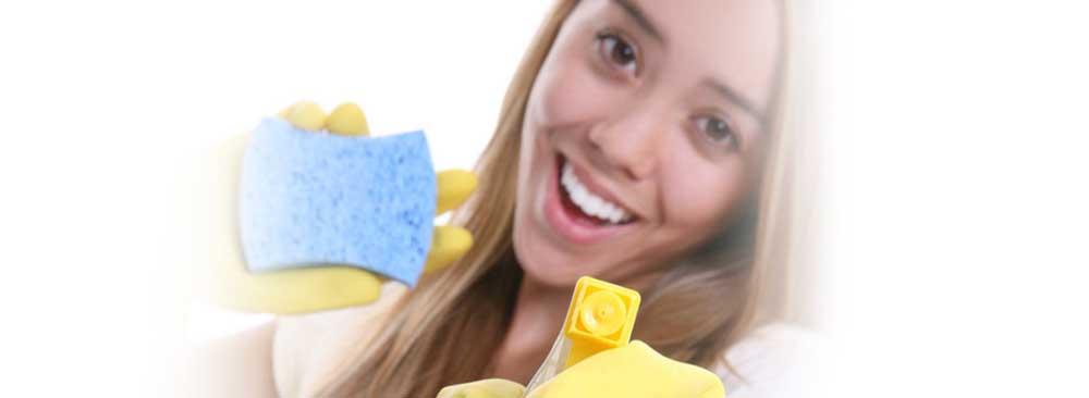 Vrouw met spons en spray